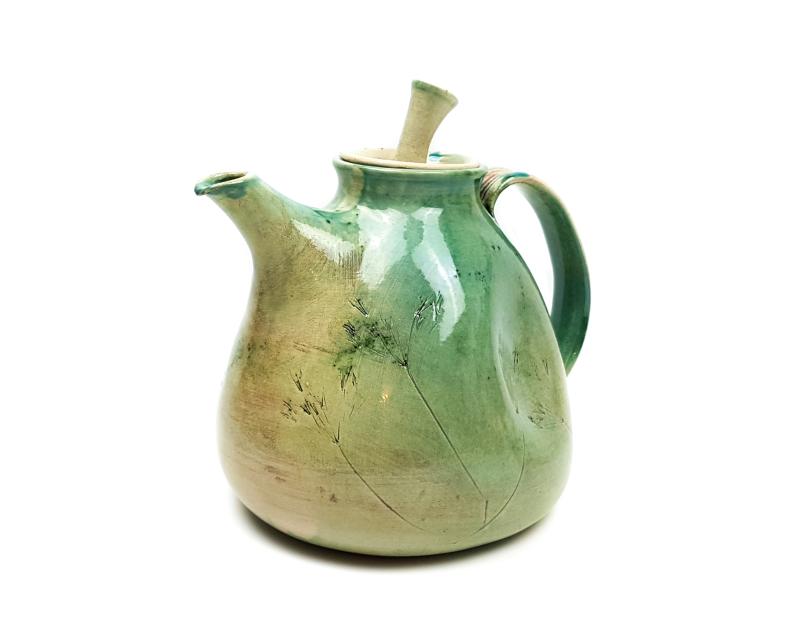 Lässige Keramik Teekanne mit Natur GRÜNES Muster