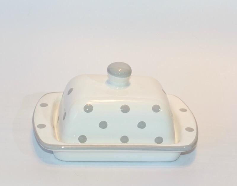 weißen Butterdosen mit Pastellfarbenen Punkten 100 gr