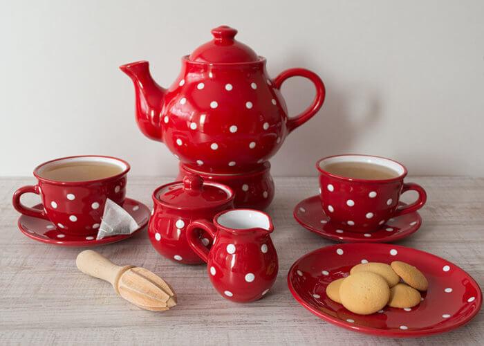 Tee-Set ROt mit weiser Punkte