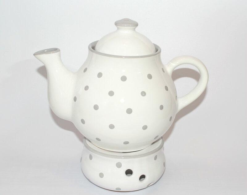 Weiße Teekanne mit Stövchen mit Pastellpunkten   UNGARNIKAT
