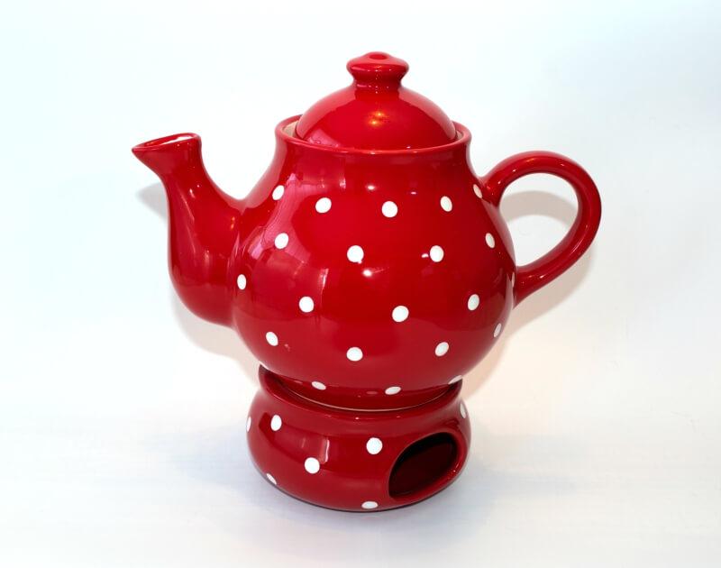 Keramik Teekanne und Stövchen mit weißen Punkten