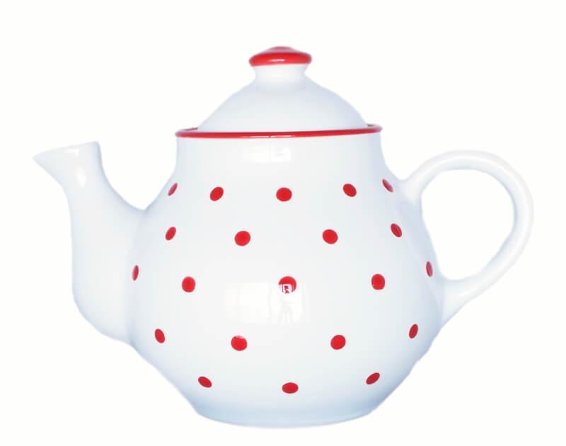 weißen Teekannen mit Punkten 1,7 L