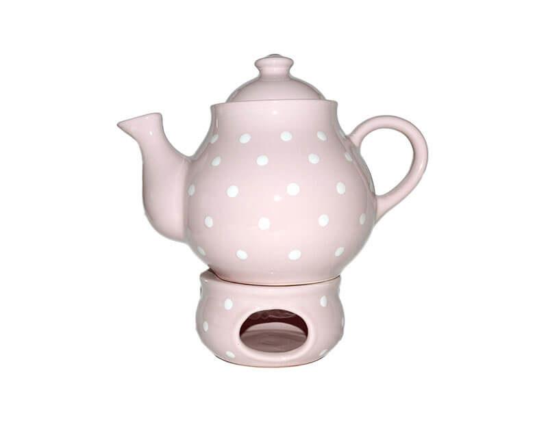 Pastell Teekanne und Stövchen mit weißen Punkten