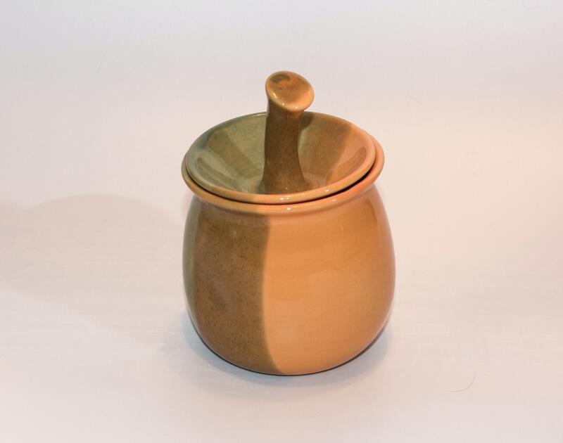Lässige Keramik Zuckerdose Hellgrün Gelb