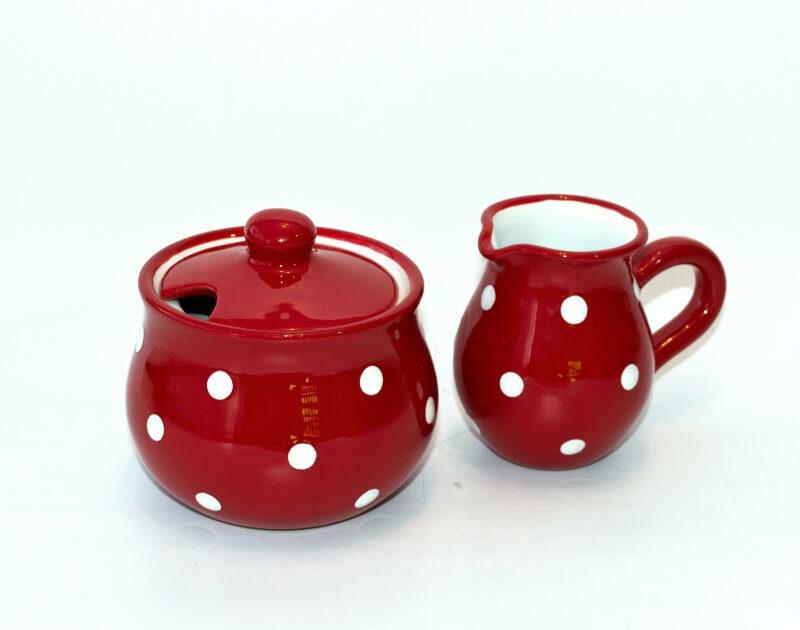 Keramik Set Zuckerdose und Milchkännchen mit weißen Punkten
