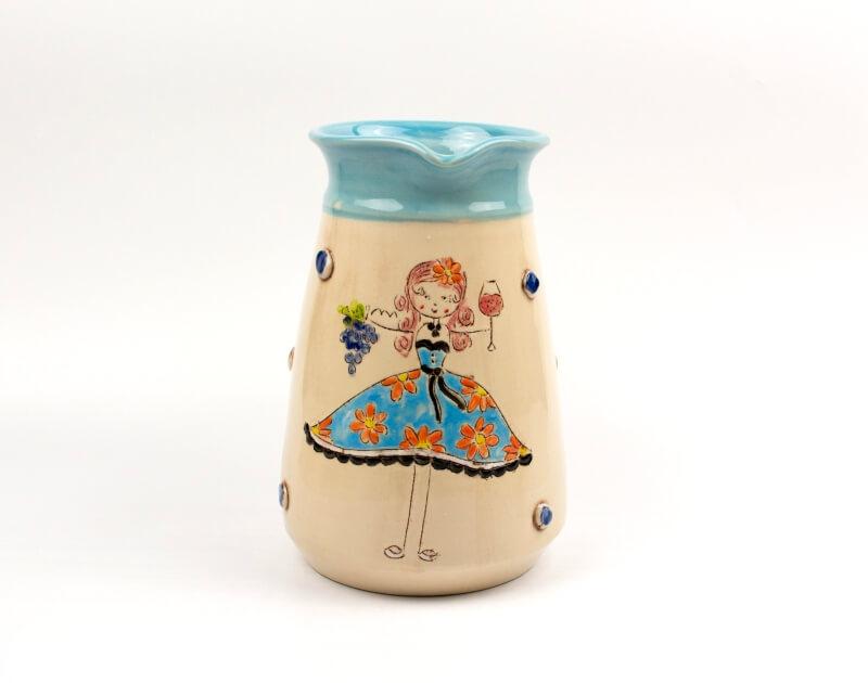 Keramik Krug hellblau mit Schnucki Motiv 1,5 L