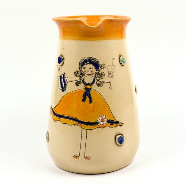 Keramik Krug orange mit Schnucki Motiv 1,5 L