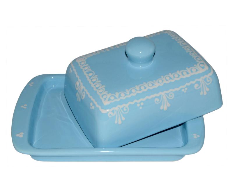 Keramik Butterdose hellblau mit Spitze 250 gr