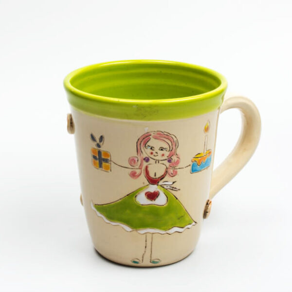 Keramik Becher lime mit Schnucki Kellnerin 0,5 L