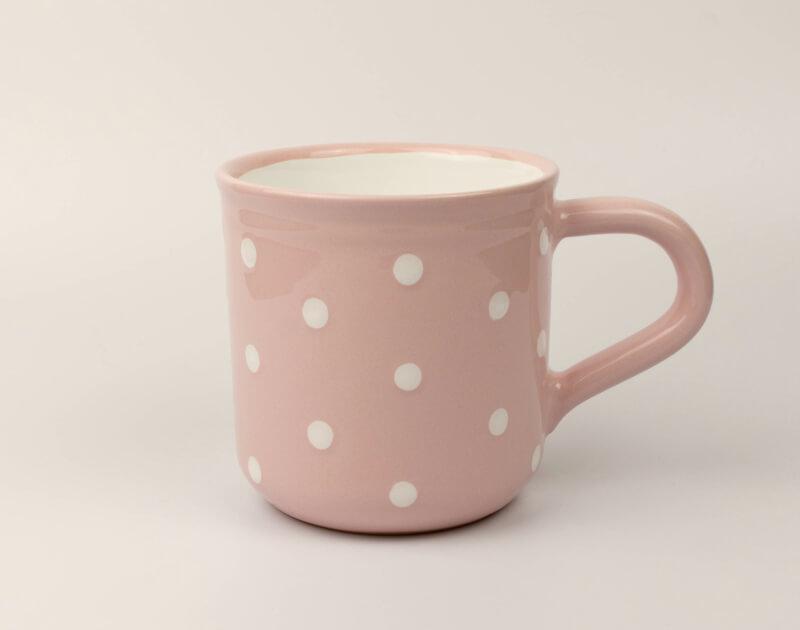 Keramik Frühstücksbecher L rosa mit Punkten (0,55 L)