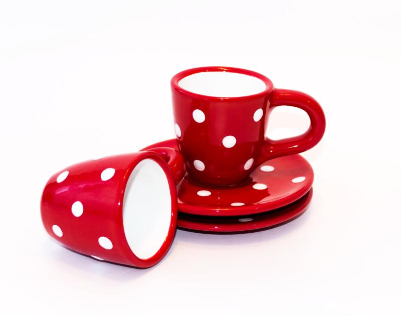 Keramik Mokkatassen mit Untertassen rot mit Punkten (klein)