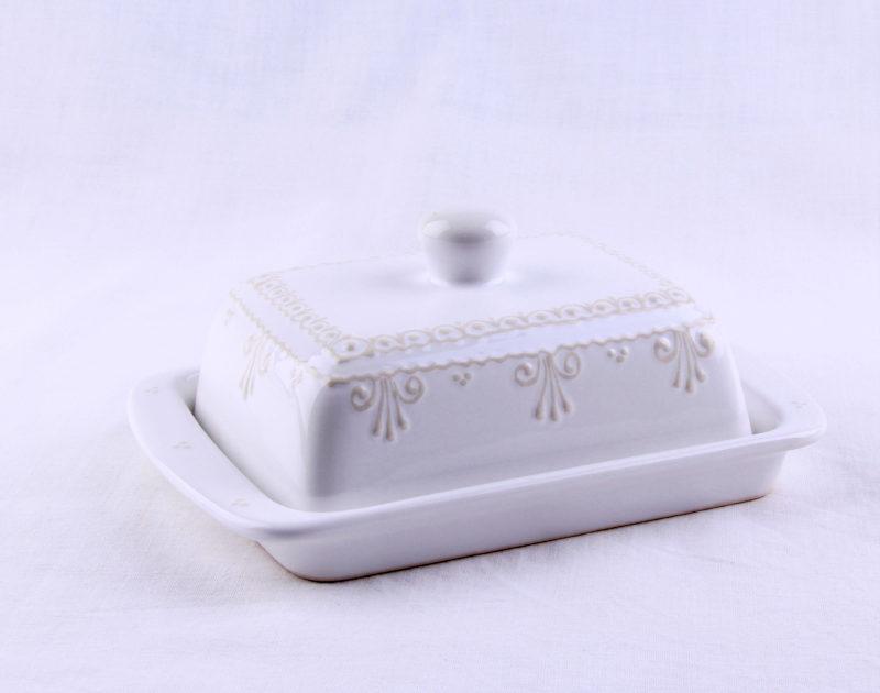 Keramik Butterdose weiß mit Spitze 250 gr