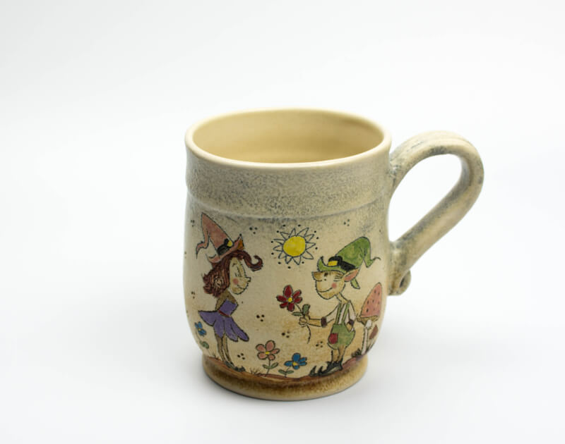 Keramik Becher mit Märchen (Wichtel) 0,5 L