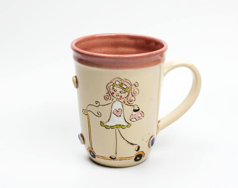 Keramik Becher rosa mit Schnucki Roller 0,5 L