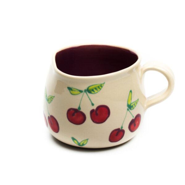 Lässige Keramik Tasse / Becher Kirsche Violett