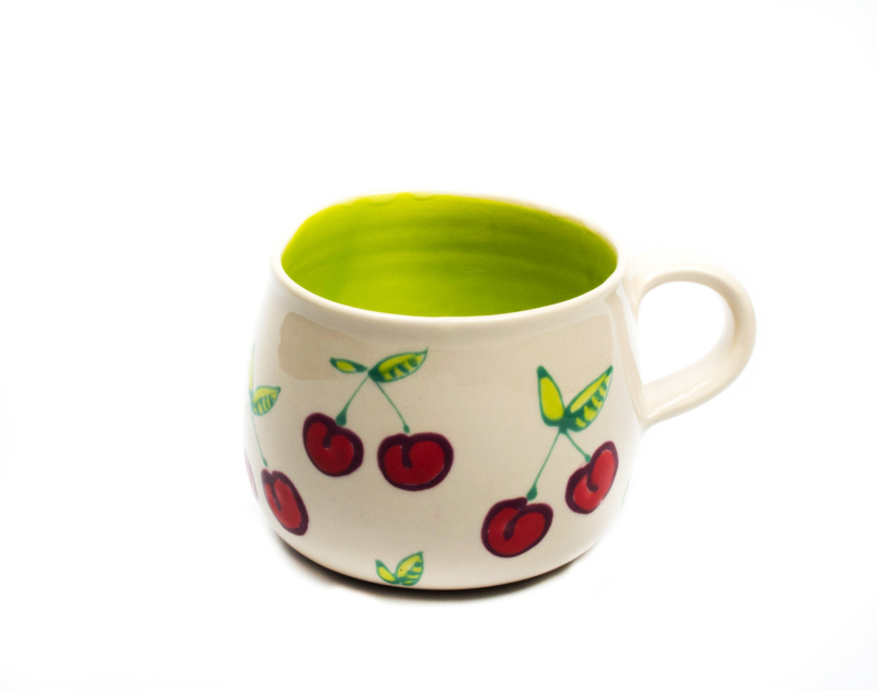 Lässige Keramik Tasse / Becher Kirsche Lime