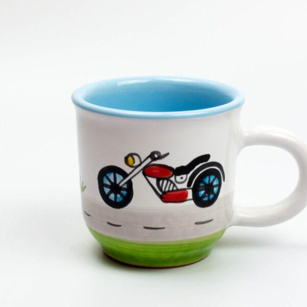 Keramik Kinderbecher mit Motorrad