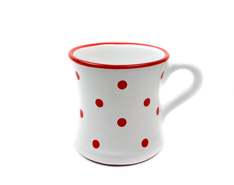 keramik kaffeebecher rot mit punkten 0 45 l ungarnikat. Black Bedroom Furniture Sets. Home Design Ideas