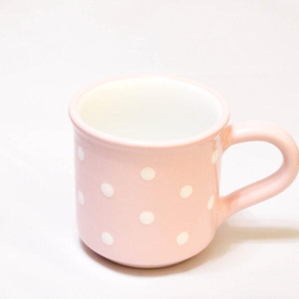 Keramik Frühstücksbecher M rosa mit Punkten (0,35 L)