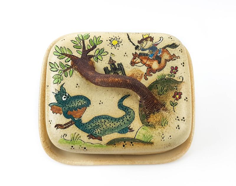 Keramik Butterdose mit Märchen (Drachen mit Prinz) Muster