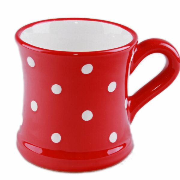 Keramik Kaffeebecher rot mit Punkten (0,45 L)