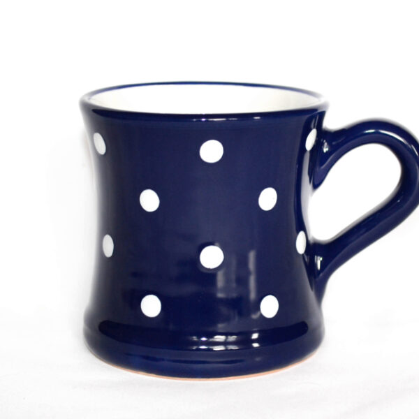 Keramik Kaffeebecher blau mit Punkten (0,45 L)