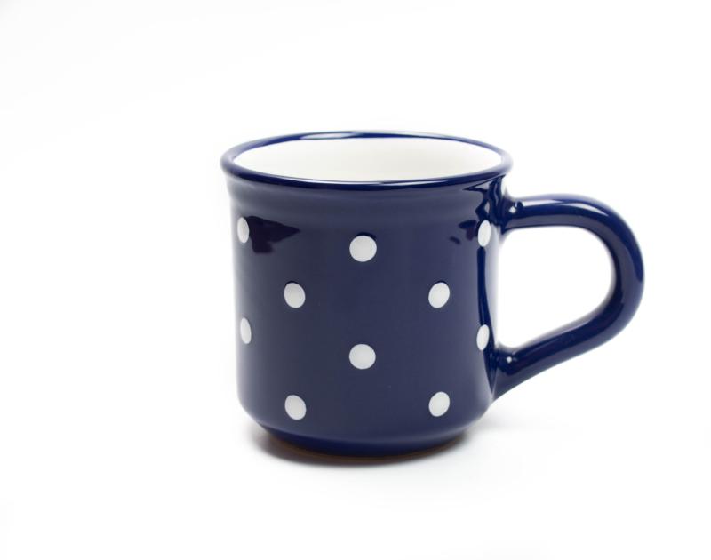 Keramik Frühstücksbecher M blau mit Punkten (0,35 L)