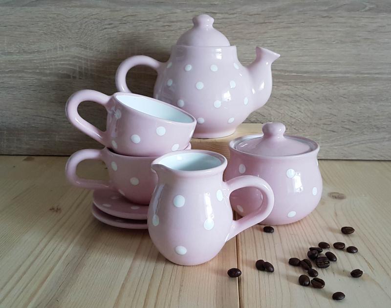 Keramik Kaffeeservice rosa mit Punkten