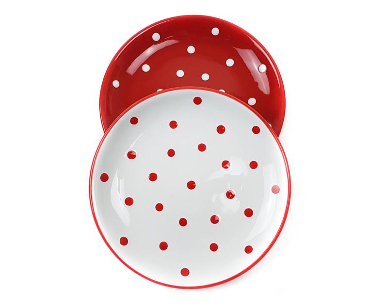 Keramik Dessertteller rot mit Punkten (19 cm)
