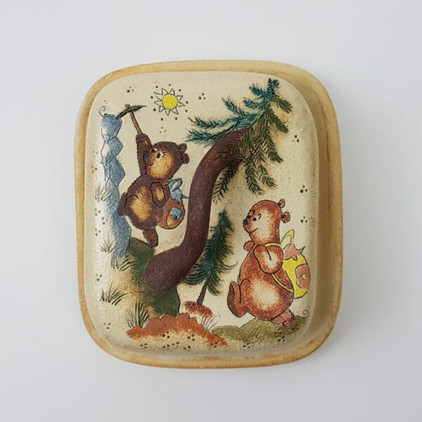 Keramik Butterdose mit Märchen (Bären Wandern) Muster