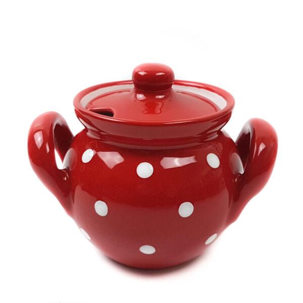Keramik Honigtopf / Marmeladentopf rot mit Punkten