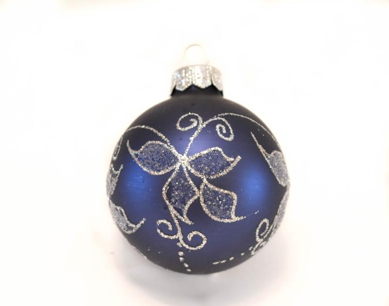 Weihnachtskugeln Blau mit silber Verschnörkelungen