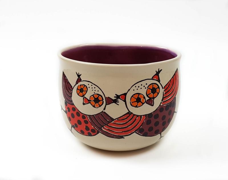 Lässige Keramik Tasse / Becher lila Eulen