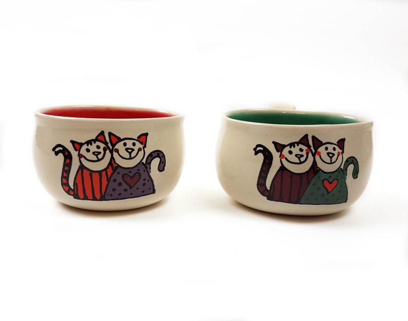 Lässige Keramik Espressotassen rot grün Katzen mit Herz