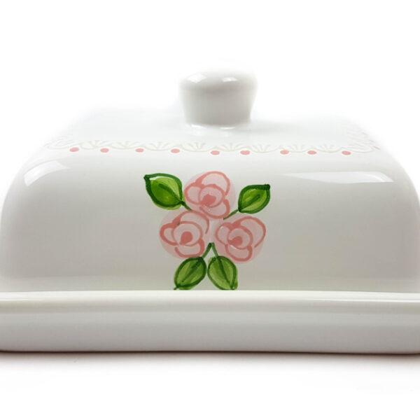 Keramik Butterdose weiß mit rosafarbenen kleinen Rosen und Spitze 250 gr