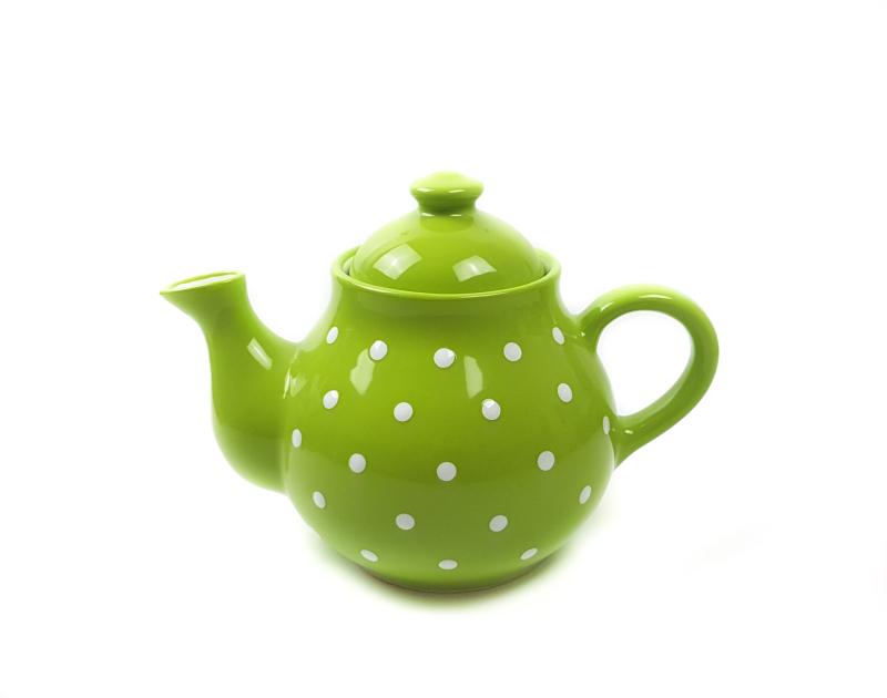 Keramik Teekanne grün mit Punkten 1,7 L