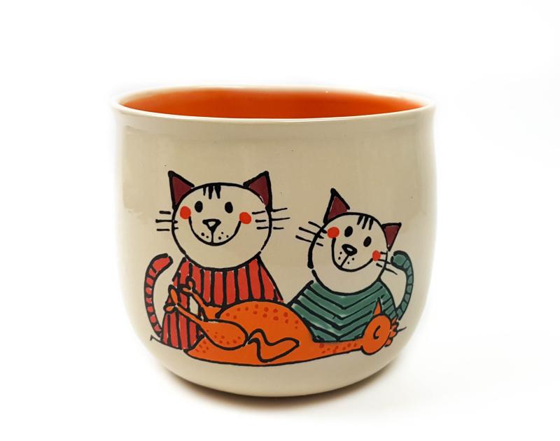 Lässige Keramik Riesige Tasse / Becher orange Katze