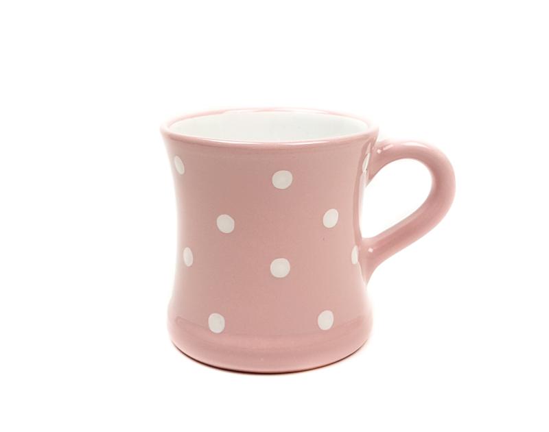 Keramik Kaffeebecher rosa mit Punkten (0,45 L)