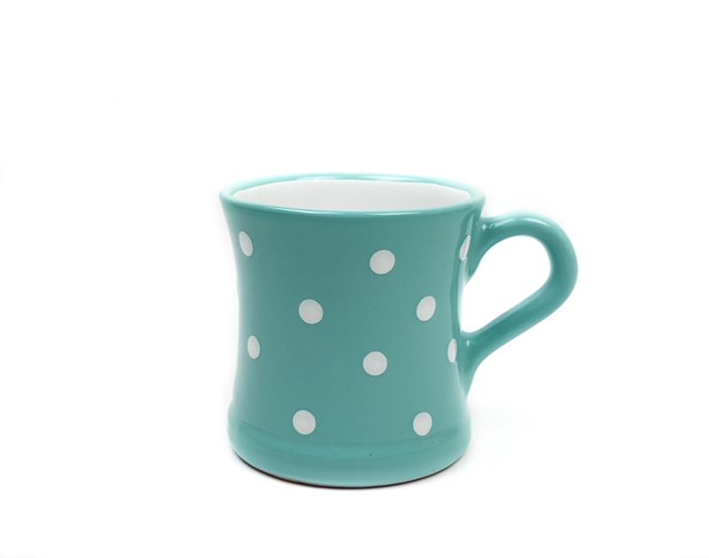 Keramik Kaffeebecher türkis mit Punkten (0,45 L)
