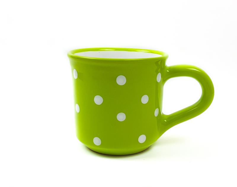 Keramik Frühstücksbecher M grün mit Punkten (0,35 L)