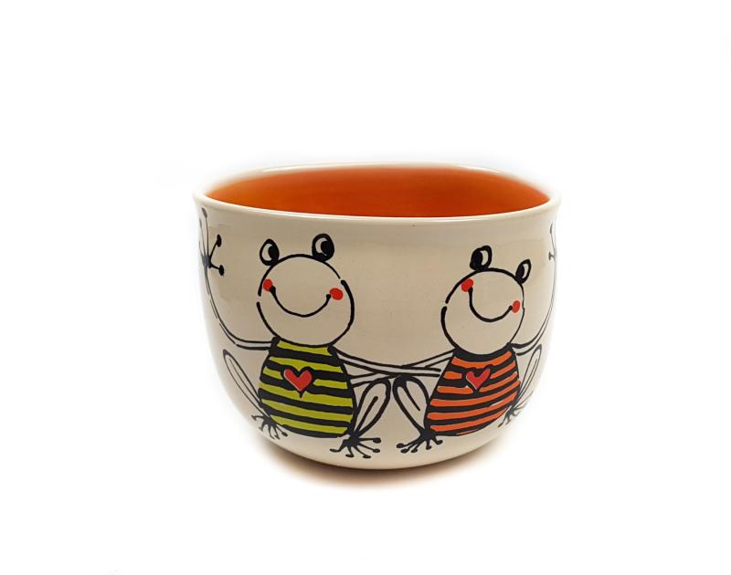 Lässige Keramik Tasse / Becher orange Frosch