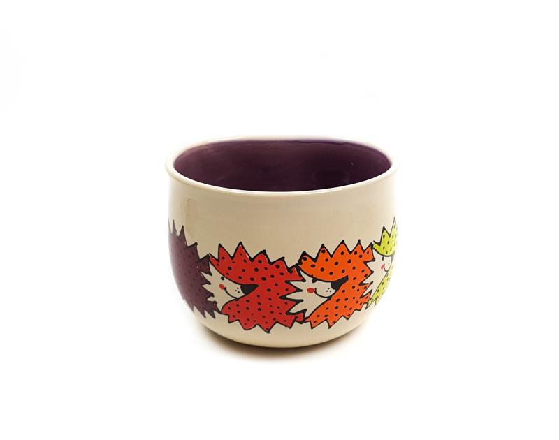 Lässige Keramik Tasse / Becher lila Igel