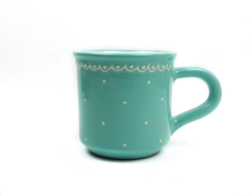 Keramik Frühstücksbecher M helltürkis mit kleinen Punkten (0,35 L)