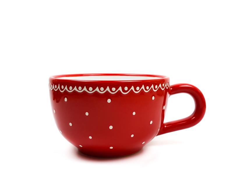 Keramik Jumbo Teetasse rot mit kleinen Punkten (0,5 L)