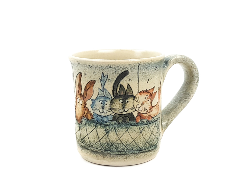 Keramik Becher mit Märchen (Katzen und Hund) 0,3 L