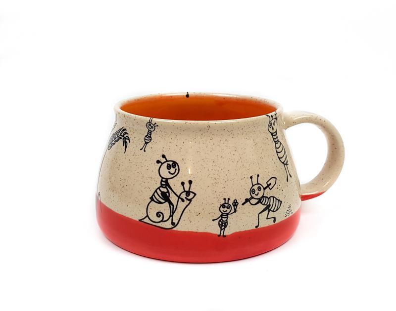 Keramik Tasse mit Ameisen (rot/orange) 0,4 L