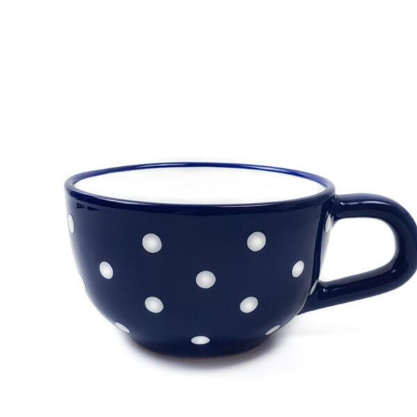 Keramik Jumbo Teetasse blau mit Punkten (0,5 L)