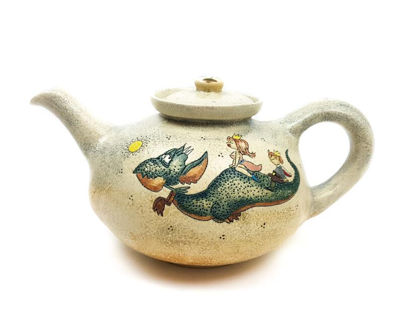 Runde Teekanne mit Märchen (Drachen, Prinz, Prinzessin) Muster