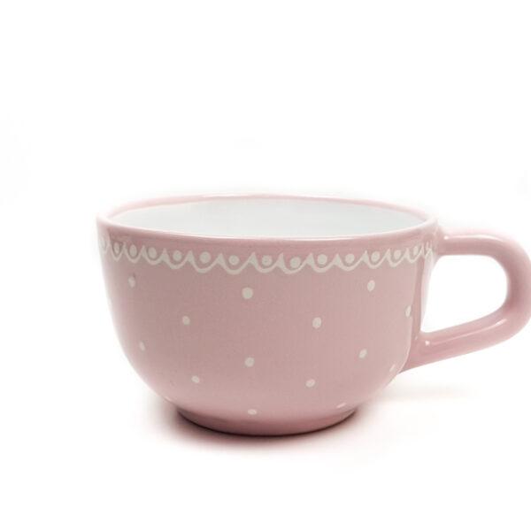 Keramik Jumbo Teetasse rosa mit kleinen Punkten (0,5 L)