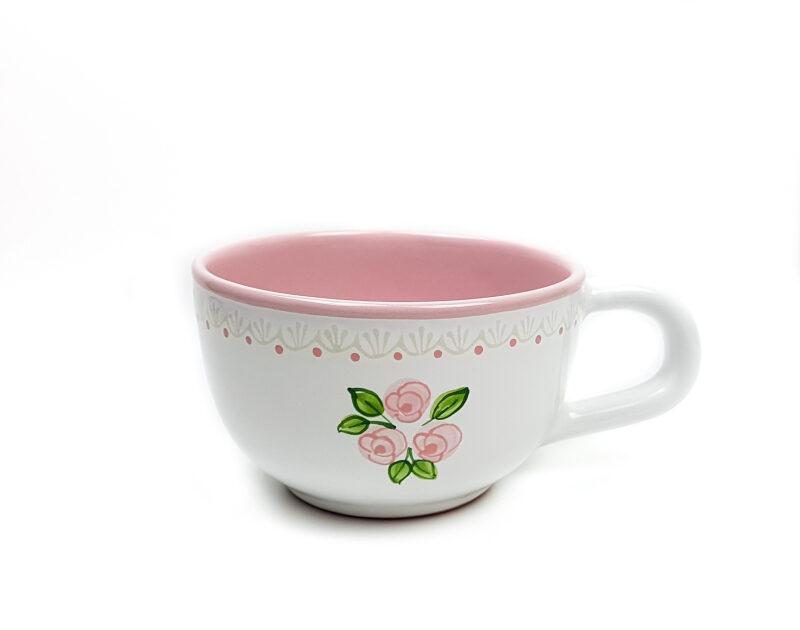 Keramik Jumbo Teetasse weiß mit rosafarbenen kleinen Rosen und Spitze (0,5 L)